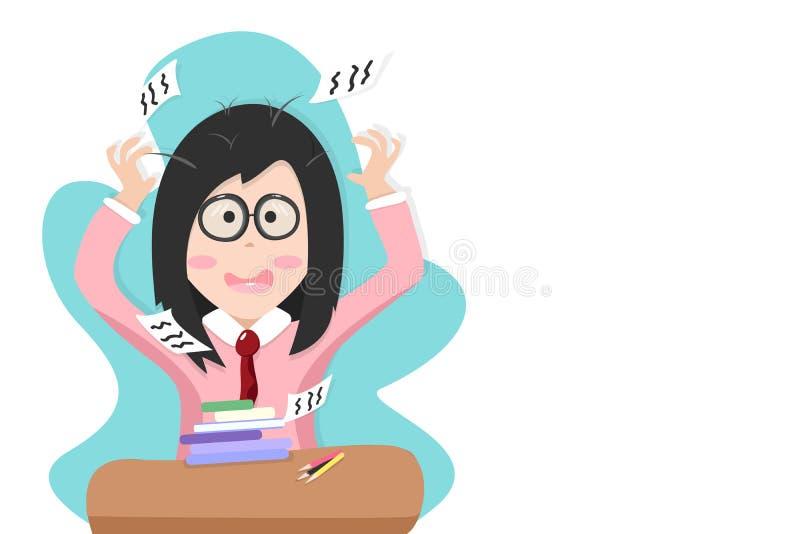Πίσω στο σχολείο, κορίτσι νευρικό με τη δοκιμή εξέτασης, διανυσματική απεικόνιση χαρακτήρα κινουμένων σχεδίων σπουδαστών ανθρώπων ελεύθερη απεικόνιση δικαιώματος