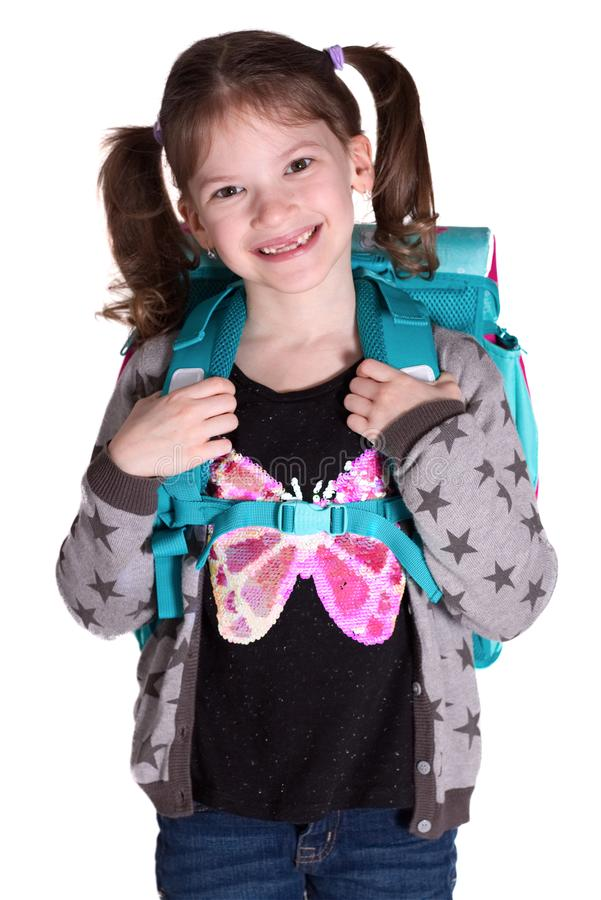 Πίσω στο σχολείο - λίγο χαμογελώντας κορίτσι στοκ εικόνες