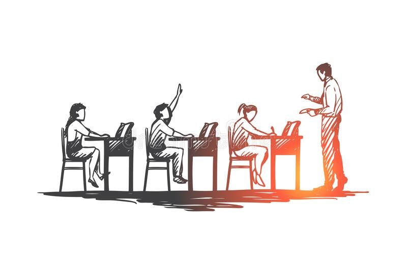 Πίσω στο σχολείο, μελέτη, εκπαίδευση, γνώση, έννοια εκμάθησης Συρμένο χέρι απομονωμένο διάνυσμα απεικόνιση αποθεμάτων