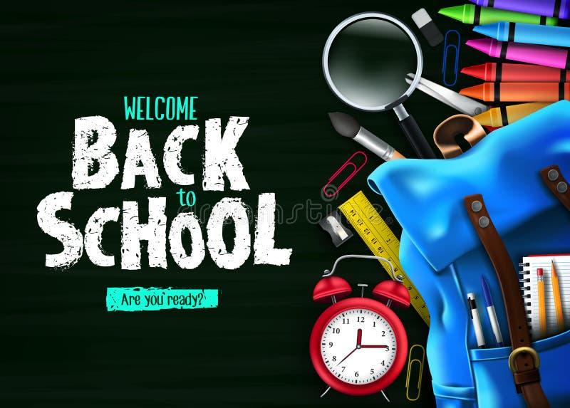 Πίσω στο σχολείο στο πράσινο έμβλημα υποβάθρου πινάκων κιμωλίας με τις μπλε προμήθειες σακιδίων πλάτης και σχολείου διανυσματική απεικόνιση