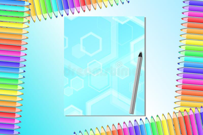 Πίσω στο σχολείο, την αφίσα, το έμβλημα με τα χρωματισμένα μολύβια και το σημειωματάριο απεικόνιση αποθεμάτων