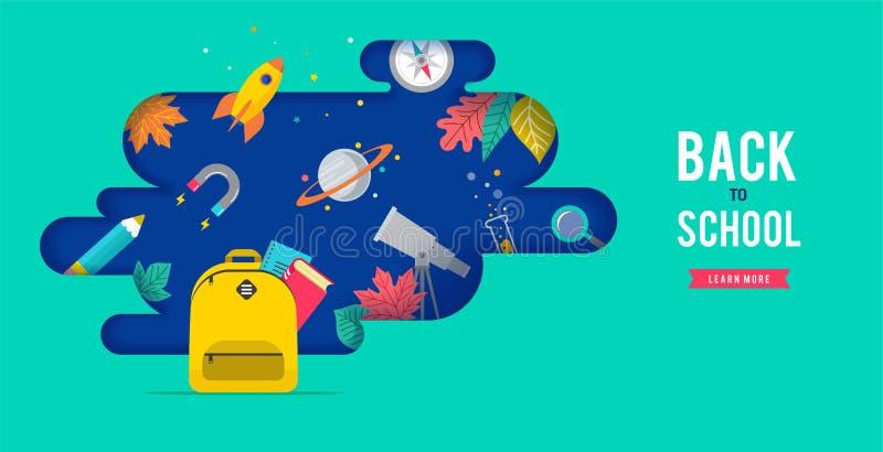 Πίσω στο σχολείο, το σακίδιο πλάτης με τη λεκτική φυσαλίδα και πολλά εικονίδια εκπαίδευσης, στοιχεία Διανυσματικό σχέδιο έννοιας απεικόνιση αποθεμάτων