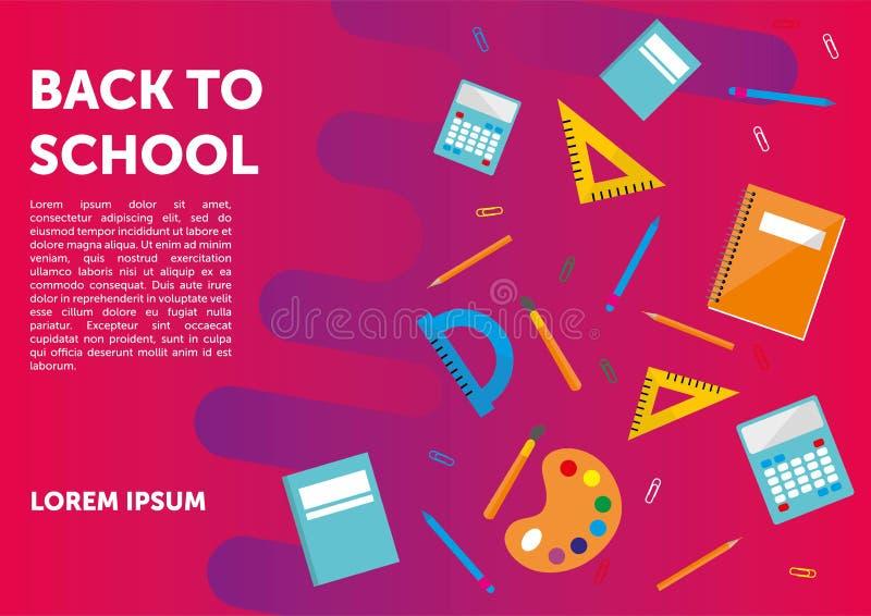 Πίσω στο σχολικό έμβλημα, αφίσα, επίπεδο σχέδιο ζωηρόχρωμο, διάνυσμα backgound ιστοσελίδας ελεύθερη απεικόνιση δικαιώματος