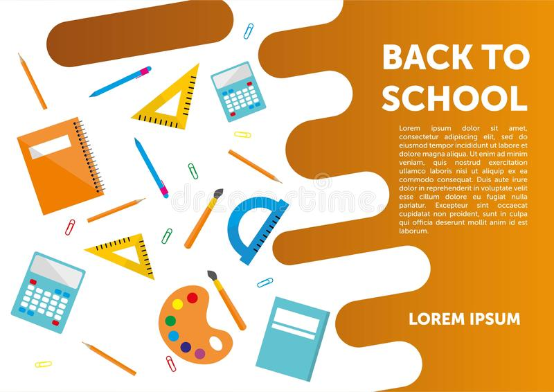 Πίσω στο σχολικό έμβλημα, αφίσα, επίπεδο σχέδιο ζωηρόχρωμο, διάνυσμα backgound ιστοσελίδας διανυσματική απεικόνιση