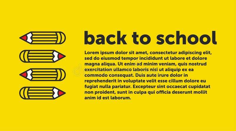Πίσω στο σχολικό έμβλημα, αφίσα, επίπεδο σχέδιο ζωηρόχρωμο, διάνυσμα backgound ιστοσελίδας απεικόνιση αποθεμάτων