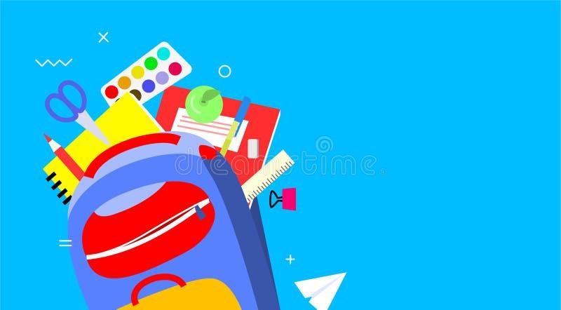 Πίσω στο σχολικό έμβλημα, επίπεδο σχέδιο, διανυσματική απεικόνιση προτύπων υποβάθρου Ζωηρόχρωμες σχολικές προμήθειες στο σακίδιο  απεικόνιση αποθεμάτων