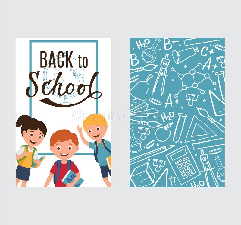 Πίσω στο σχολικό έμβλημα με τα παιδιά και την εκπαίδευση σχεδίων, η επιστήμη αντιτίθεται και σχολείων προμήθειες, διανυσματική απ απεικόνιση αποθεμάτων