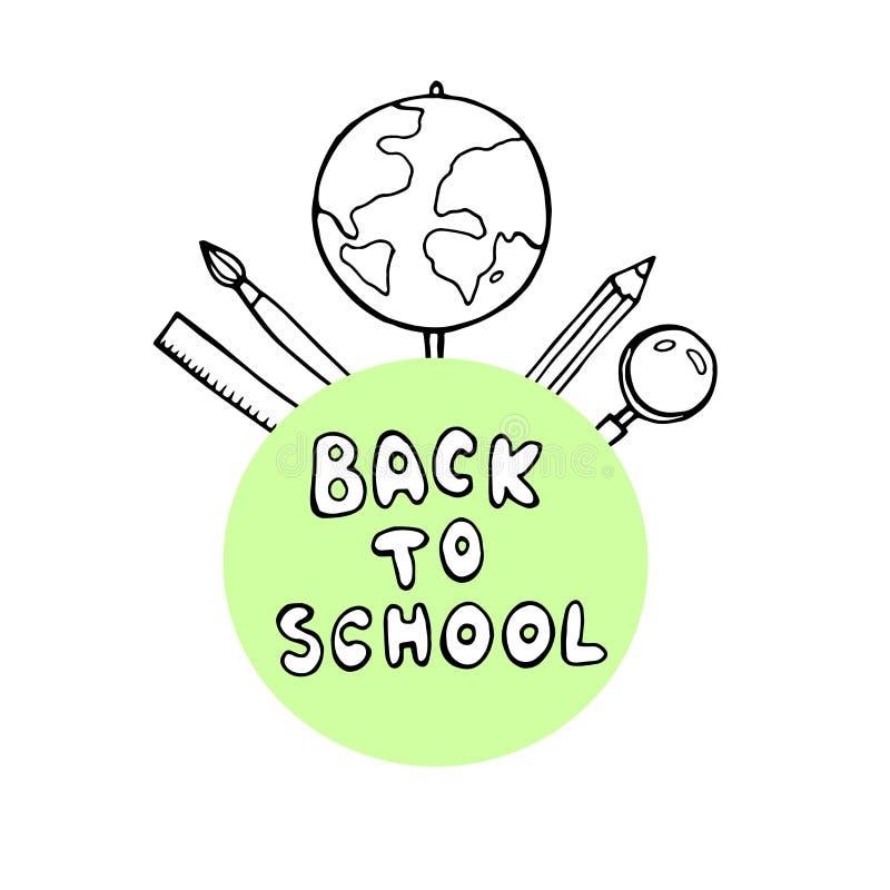 Πίσω στο σχολικό έμβλημα με τη σύσταση από τα ζωηρόχρωμα εικονίδια τέχνης γραμμών της εκπαίδευσης, η επιστήμη αντιτίθεται και γρα διανυσματική απεικόνιση