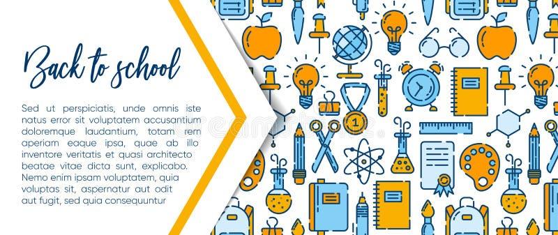 Πίσω στο σχολικό έμβλημα με το σχέδιο των σχολικών προμηθειών Καλωσορίστε πίσω στο σχολικό φυλλάδιο Ζωηρόχρωμο κίτρινο και μπλε έ ελεύθερη απεικόνιση δικαιώματος