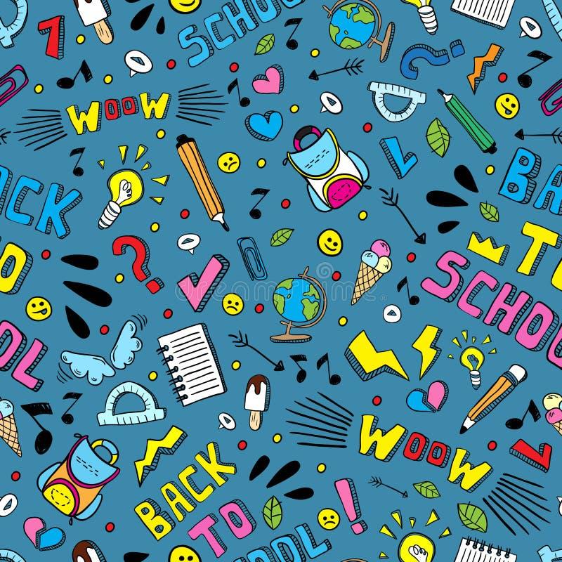 Πίσω στο σχολικό αστείο διανυσματικό άνευ ραφής σχέδιο Γραπτές σχολικές προμήθειες και δημιουργικά στοιχεία Έργο τέχνης ύφους Doo ελεύθερη απεικόνιση δικαιώματος