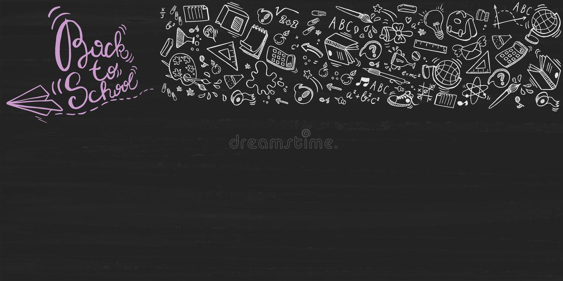 Πίσω στο σχολικό γράφοντας υπόβαθρο με τα στοιχεία doodle στον πίνακα, διανυσματική απεικόνιση διανυσματική απεικόνιση