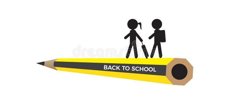Πίσω στο σχολικό διάνυσμα με τις ξύλινες σκιαγραφίες μολυβιών και παιδιών που απομονώνονται στο άσπρο υπόβαθρο ελεύθερη απεικόνιση δικαιώματος
