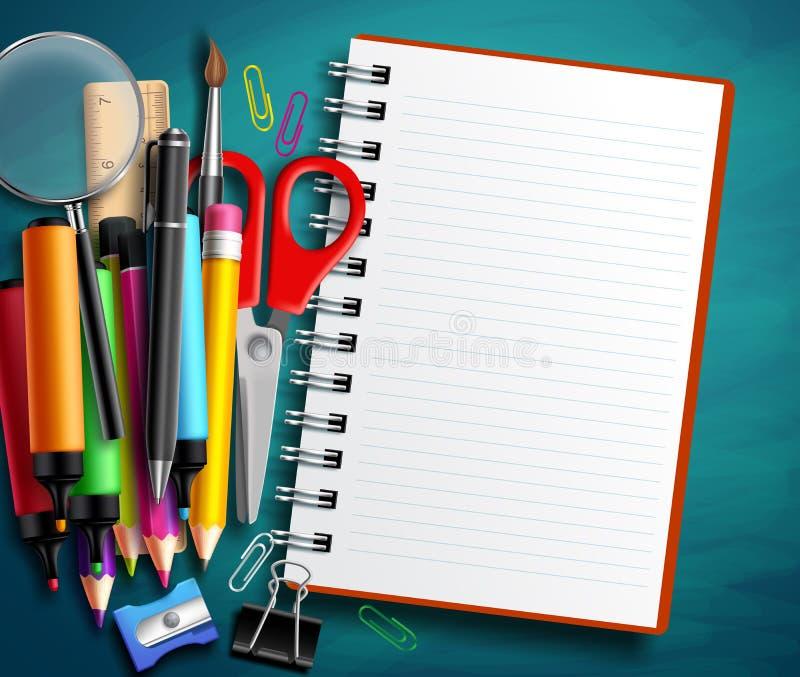 Πίσω στο σχολικό διανυσματικό εκπαιδευτικό πρότυπο με τα σχολικά στοιχεία και τα στοιχεία και το σημειωματάριο διανυσματική απεικόνιση