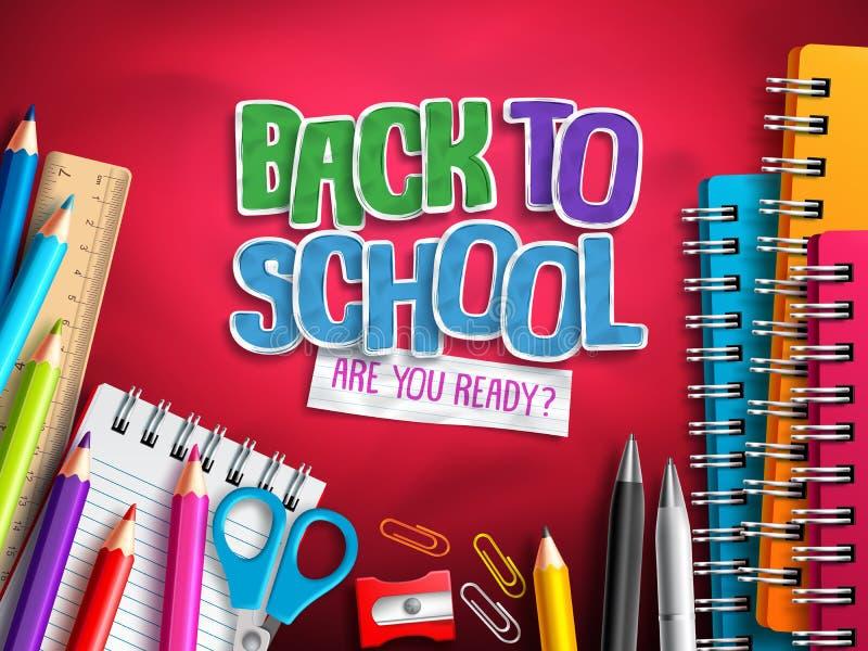 Πίσω στο σχολικό διανυσματικό σχέδιο με τα στοιχεία εκπαίδευσης, τις σχολικές προμήθειες και τη ζωηρόχρωμη περικοπή εγγράφου διανυσματική απεικόνιση