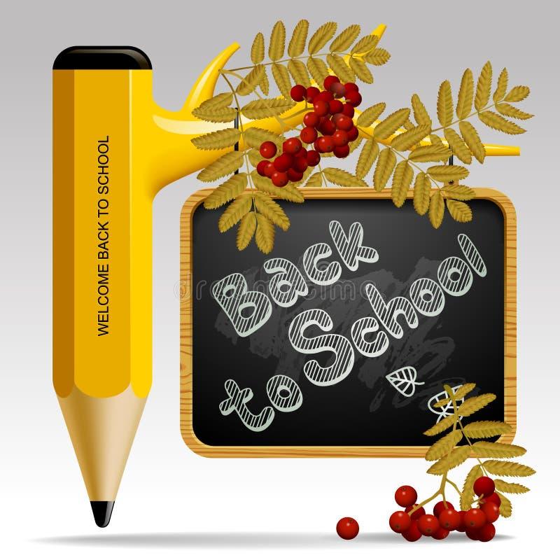 Πίσω στο σχολικό σχέδιο με το μολύβι ως δέντρο, φύλλα, μούρα σορβιών διανυσματική απεικόνιση