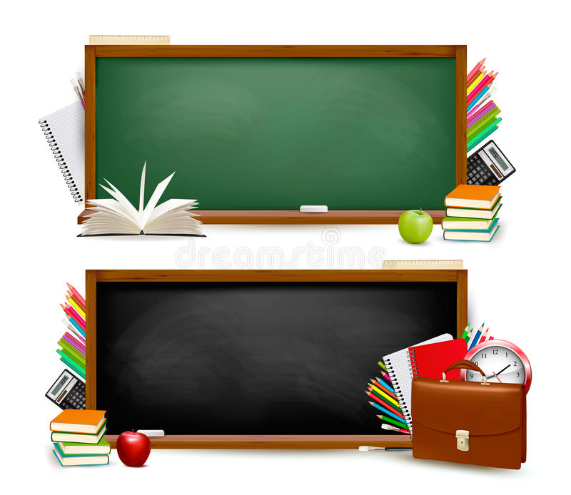 Πίσω στο σχολείο. Δύο εμβλήματα με τις σχολικές προμήθειες. απεικόνιση αποθεμάτων