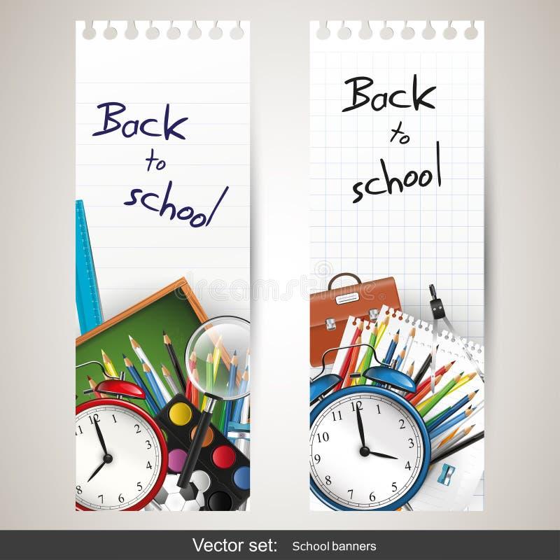 Πίσω στο σχολείο - σύνολο διανυσματικών εμβλημάτων ελεύθερη απεικόνιση δικαιώματος