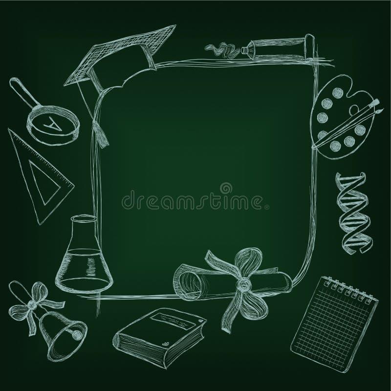 Πίσω στο σχολείο frameon ο πράσινος πίνακας απεικόνιση αποθεμάτων