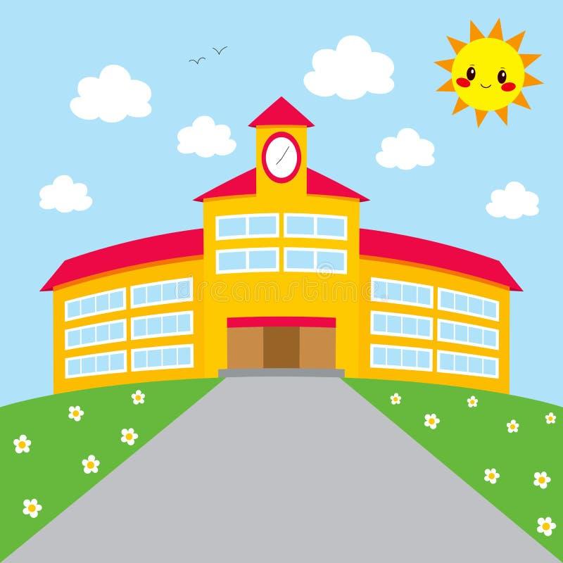 Πίσω στο σχολικό κτίριο διανυσματική απεικόνιση