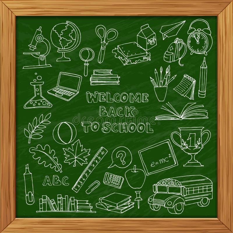 Πίσω στο σχολικό σύνολο παιδιών doodles με το λεωφορείο, βιβλία, υπολογιστής και απεικόνιση αποθεμάτων