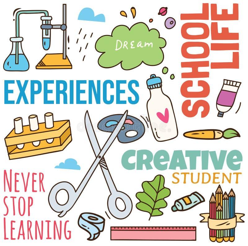 Πίσω στο υπόβαθρο σχολικής έννοιας doodle απεικόνιση αποθεμάτων
