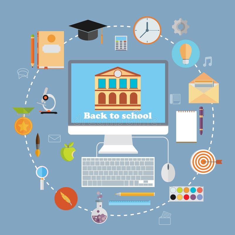 Πίσω σχέδιο σχολικών στο επίπεδο εικονιδίων επίσης corel σύρετε το διάνυσμα απεικόνισης διανυσματική απεικόνιση