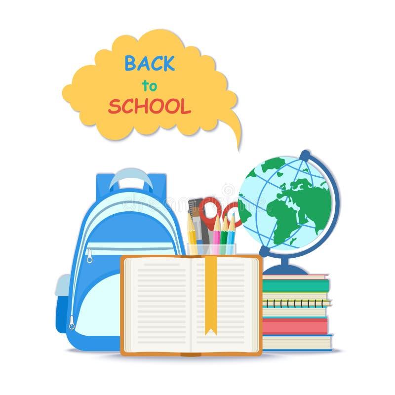 πίσω σχολείο έννοιας Ανοικτό βιβλίο με τις προμήθειες σελιδοδεικτών και σχολείων όπως μια σφαίρα, σύνολο χαρτικών Επίπεδη έννοια  διανυσματική απεικόνιση