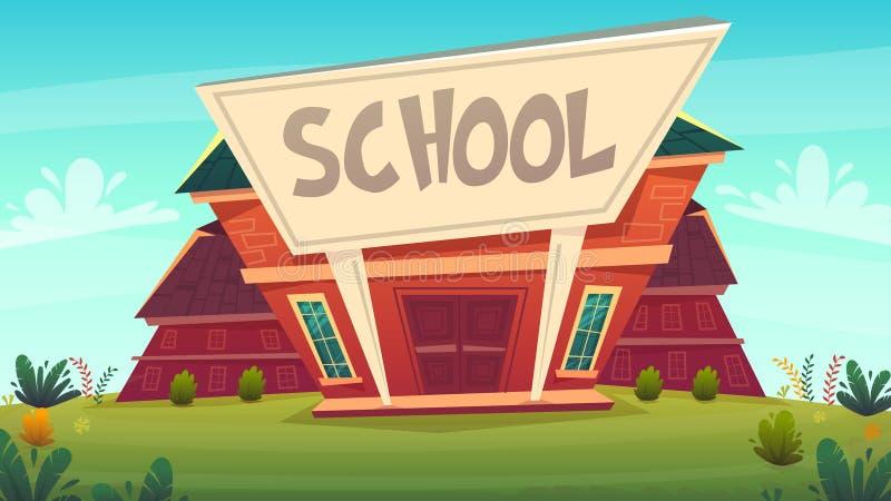 πίσω σχολείο απεικόνιση&sigm χτίζοντας αστείο ευτυχές ύφος κινούμενων σχεδίων εκπαίδευσης οδών fasade επίσης corel σύρετε το διάν ελεύθερη απεικόνιση δικαιώματος