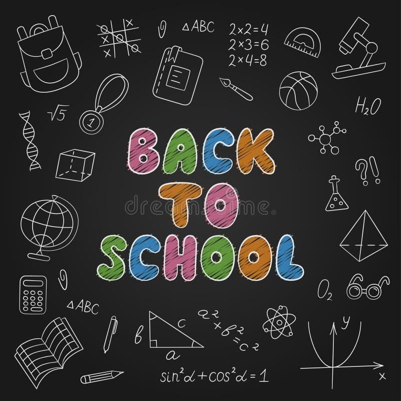 πίσω σχολείο εγγραφή chalkboard Σύνολο σχολικών στοιχείων στο doodle και το ύφος κινούμενων σχεδίων ελεύθερη απεικόνιση δικαιώματος