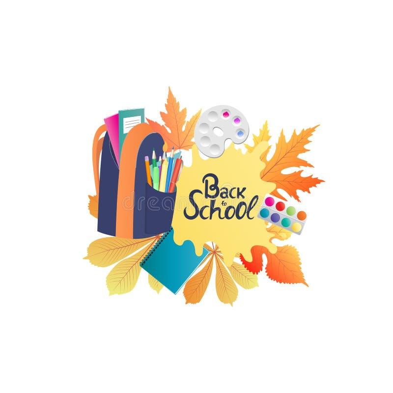 πίσω σχολείο εμβλημάτων Σακίδιο πλάτης με τα σημειωματάρια, χρώμα, μολύβια Φύλλα φθινοπώρου απεικόνιση αποθεμάτων