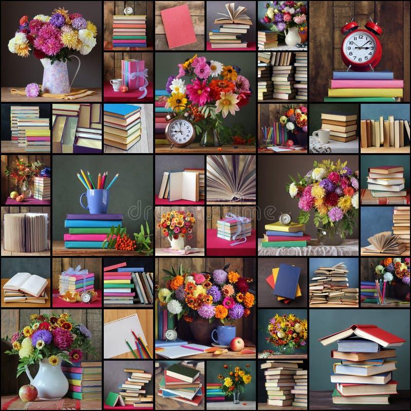 πίσω σχολείο Κολάζ των φωτογραφιών με τα βιβλία και τις ανθοδέσμες στοκ φωτογραφία με δικαίωμα ελεύθερης χρήσης