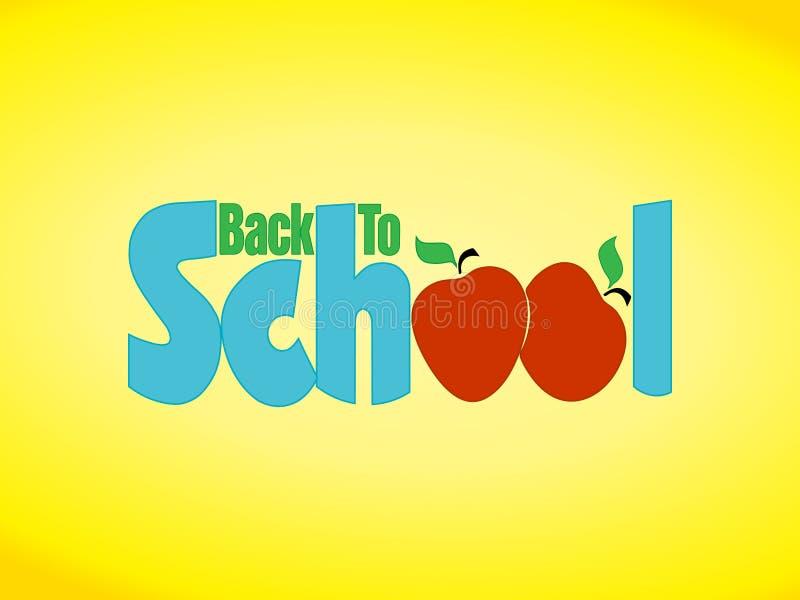 πίσω σχολικό σημάδι μήλων ελεύθερη απεικόνιση δικαιώματος