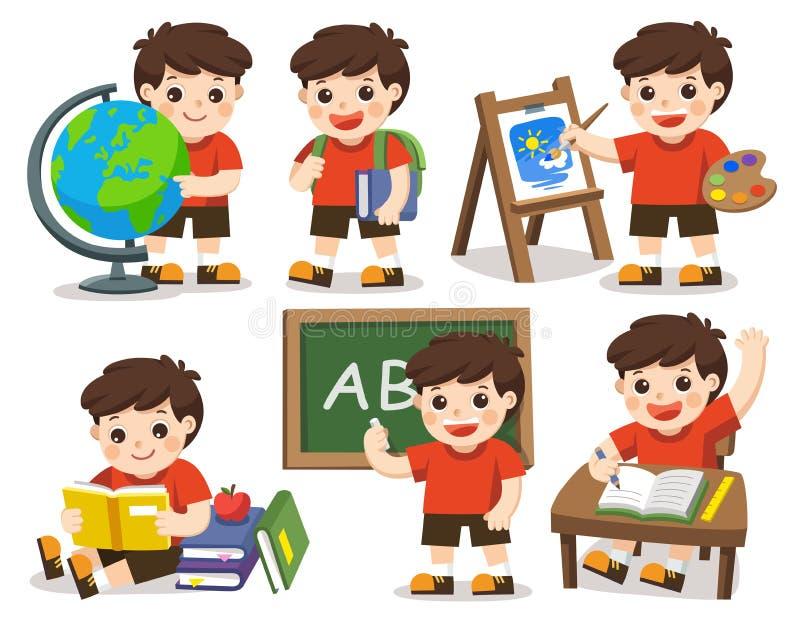 πίσω σχολείο Μια χαριτωμένη μελέτη σπουδαστών στο σχολείο απεικόνιση αποθεμάτων