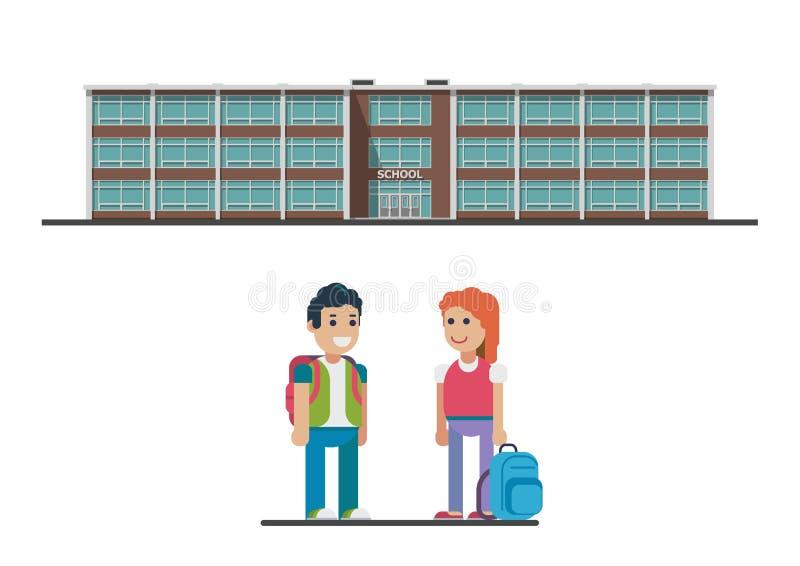πίσω σχολείο στην υποδοχή Διανυσματική επίπεδη απεικόνιση ελεύθερη απεικόνιση δικαιώματος