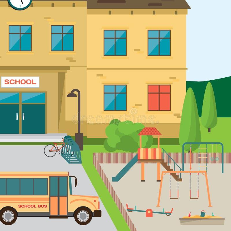 πίσω σχολείο στην υποδοχή Να ενσωματώσει το πάρκο με την παιδική χαρά παιδιών διανυσματική απεικόνιση