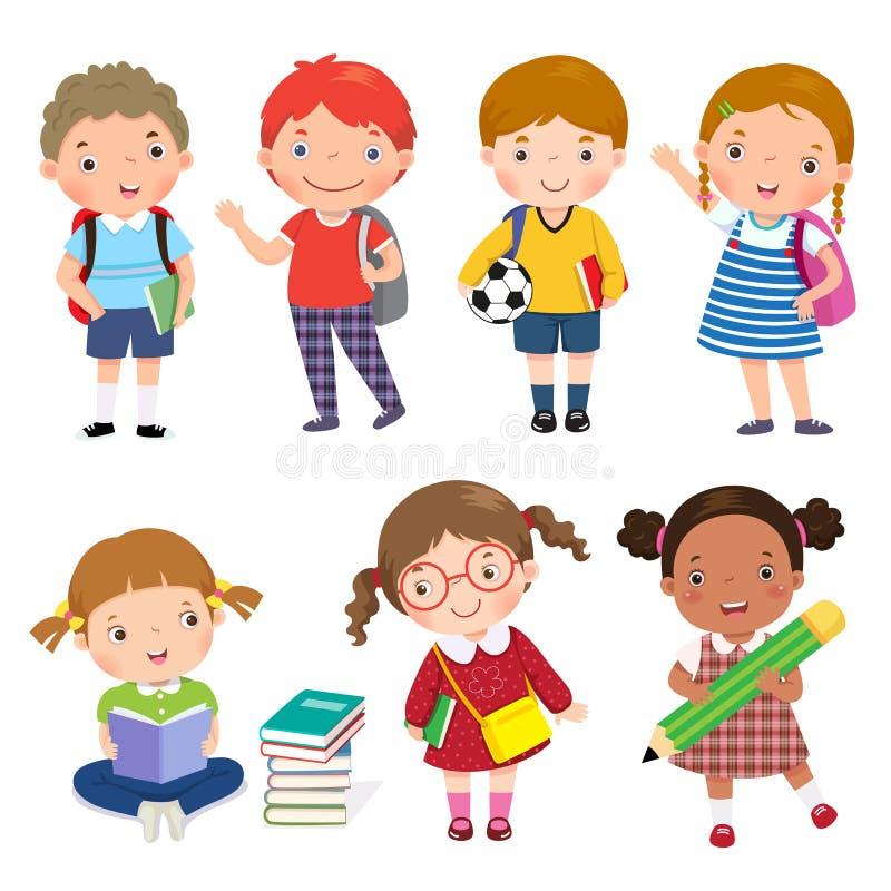 πίσω σχολείο Σύνολο σχολικών παιδιών στην έννοια εκπαίδευσης διανυσματική απεικόνιση