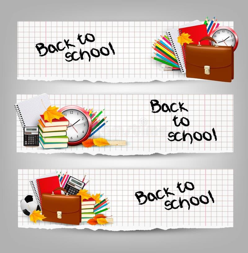 πίσω σχολείο Τρία εμβλήματα με τις σχολικές προμήθειες ελεύθερη απεικόνιση δικαιώματος