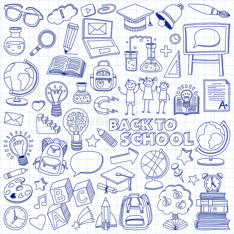 πίσω σχολείο doodle που τίθετ&alp εικονίδια γραμμικά διανυσματική απεικόνιση