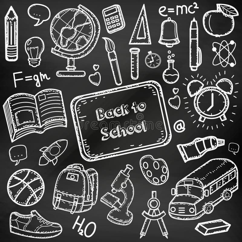 πίσω σχολείο doodle που τίθετ&alp Το χέρι επισύρει την προσοχή τα σχολικά στοιχεία σε έναν πίνακα κιμωλίας διάνυσμα ελεύθερη απεικόνιση δικαιώματος