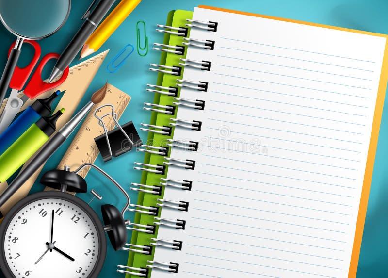 Πίσω υπόβαθρο σχολικών στο διανυσματικό προτύπων με τις σχολικές προμήθειες, τα εκπαιδευτικά στοιχεία και το σημειωματάριο διανυσματική απεικόνιση