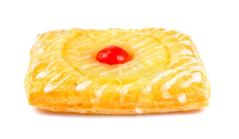 Πίτα ανανά, δανική ζύμη φρούτων που απομονώνεται στο άσπρο υπόβαθρο στοκ εικόνα με δικαίωμα ελεύθερης χρήσης