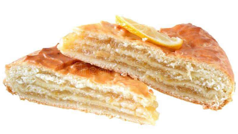 Πίτα ριπών εσπεριδοειδών με την πλήρωση λεμονιών που απομονώνεται στοκ εικόνα με δικαίωμα ελεύθερης χρήσης