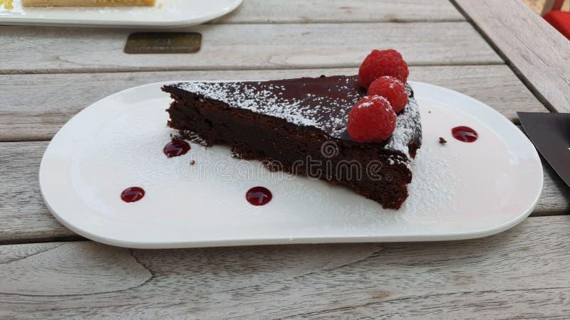 Πίτα σοκολάτας με rasberry στοκ φωτογραφία