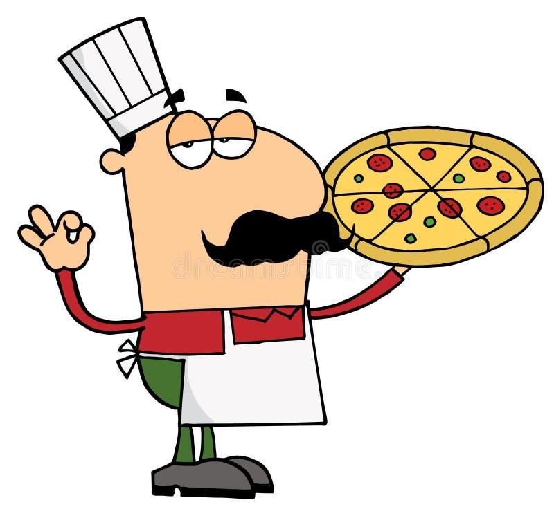 πίτσα ατόμων αρχιμαγείρων απεικόνιση αποθεμάτων