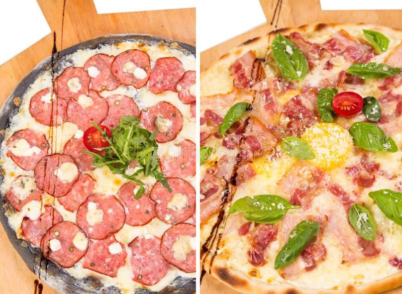 Πίτσα δύο που απομονώνεται στο λευκό στοκ εικόνα με δικαίωμα ελεύθερης χρήσης