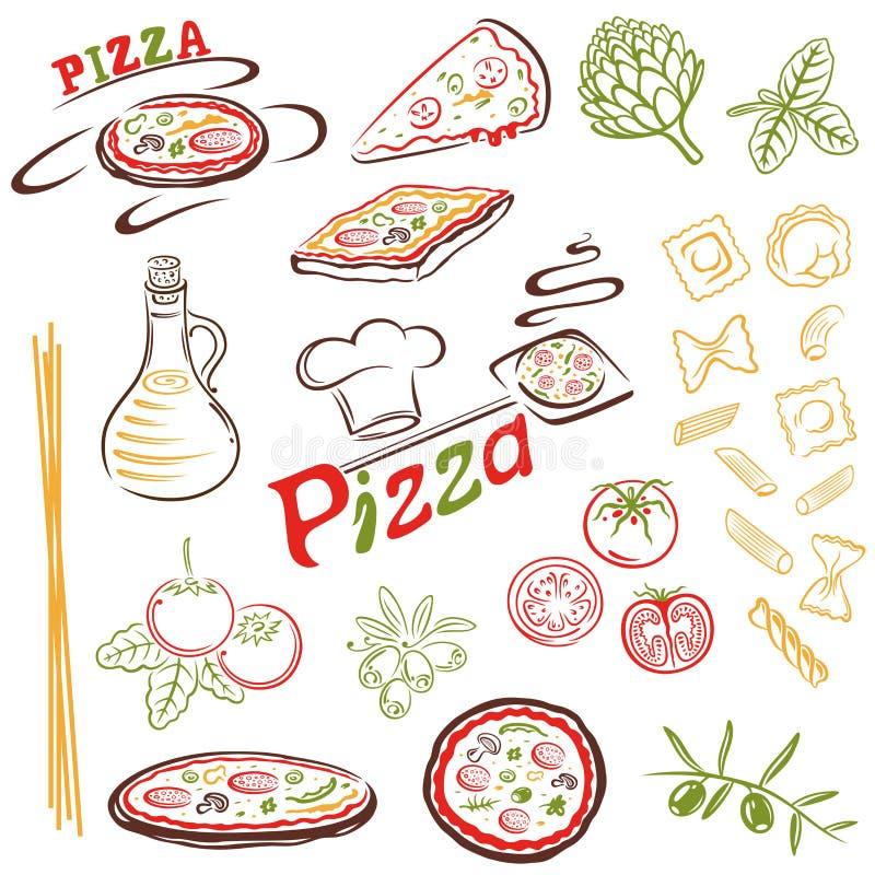 Πίτσα, ζυμαρικά απεικόνιση αποθεμάτων