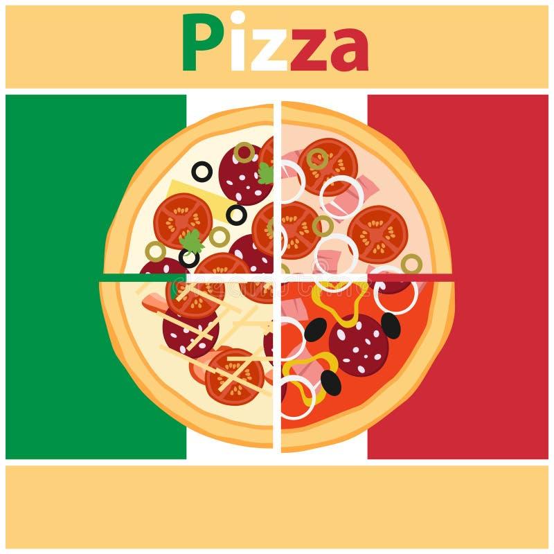 Πίτσα, κομμάτια της πίτσας στο υπόβαθρο της ιταλικής σημαίας πίτσα αποκοπών ελεύθερη απεικόνιση δικαιώματος