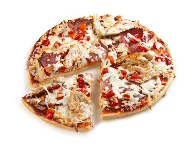 πίτσα κρέατος κοτόπουλο& στοκ εικόνες