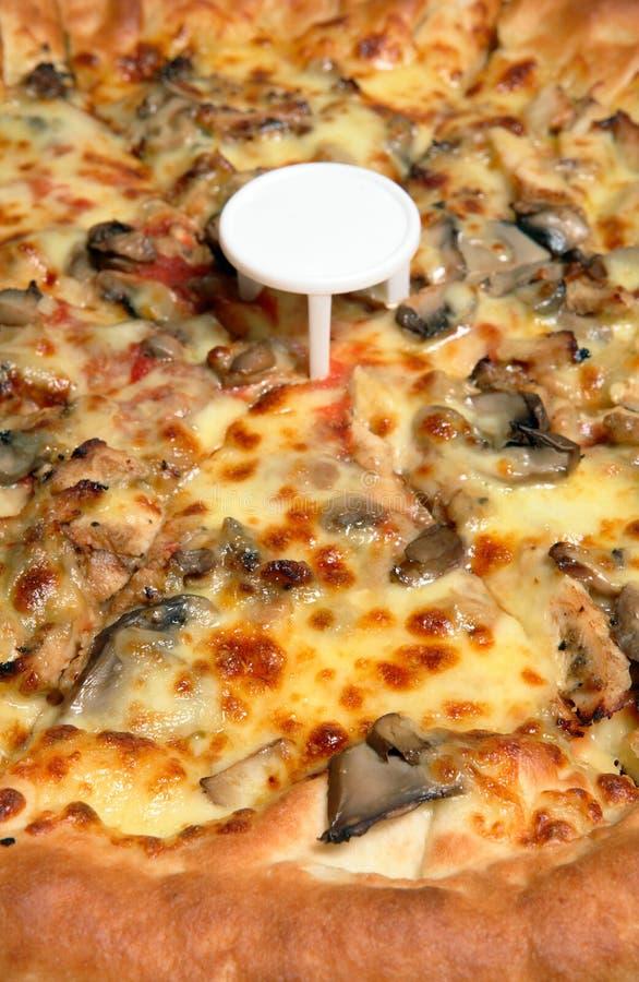 πίτσα μανιταριών κοτόπουλ&om στοκ εικόνες