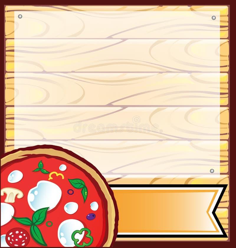 Πίτσα με το ξύλινο υπόβαθρο ελεύθερη απεικόνιση δικαιώματος